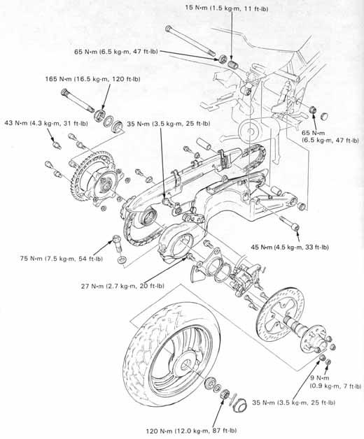 Honda Nt650 Service Manual Section 13 Rear Wheelsuspension